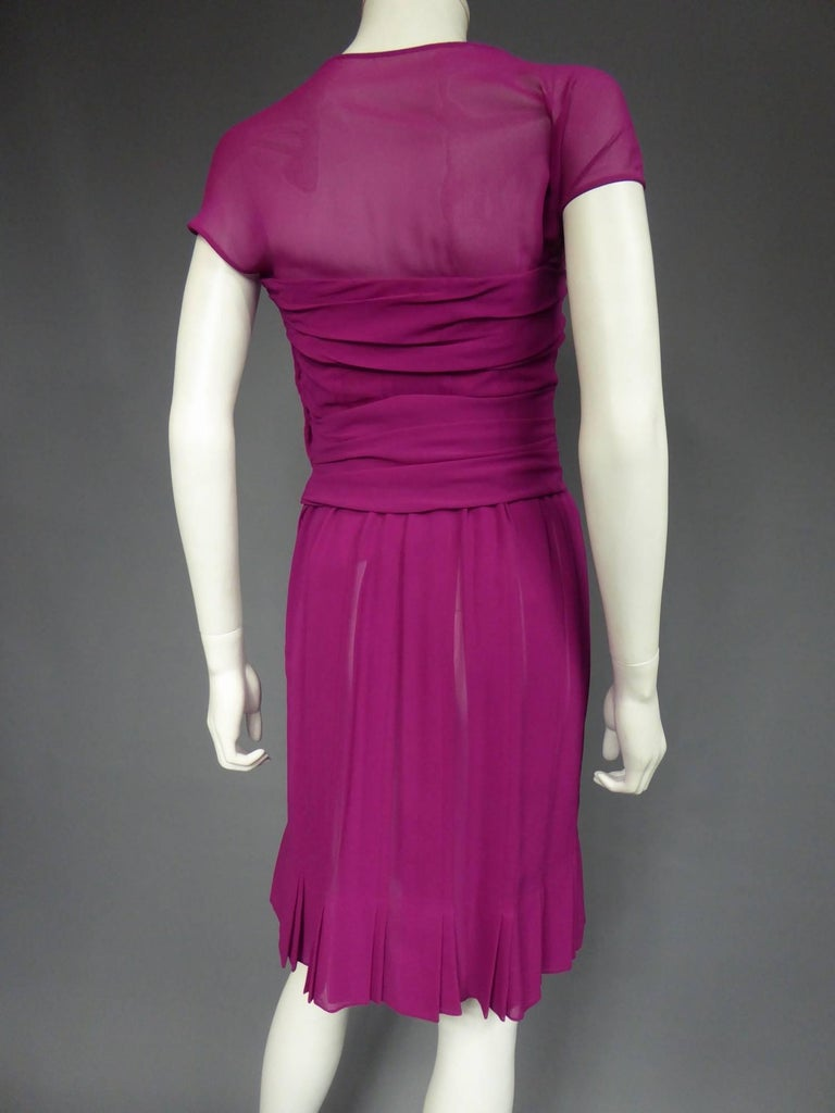 Christian Dior Haute Couture in pink chiffon silk dress, Circa 1989 - 1990 For Sale 2