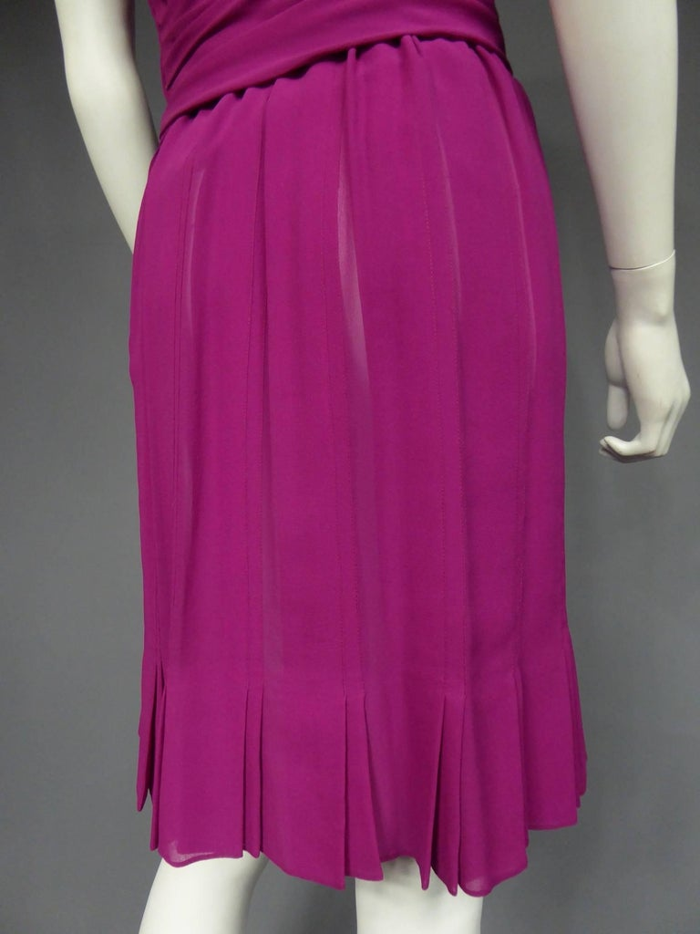 Christian Dior Haute Couture in pink chiffon silk dress, Circa 1989 - 1990 For Sale 3