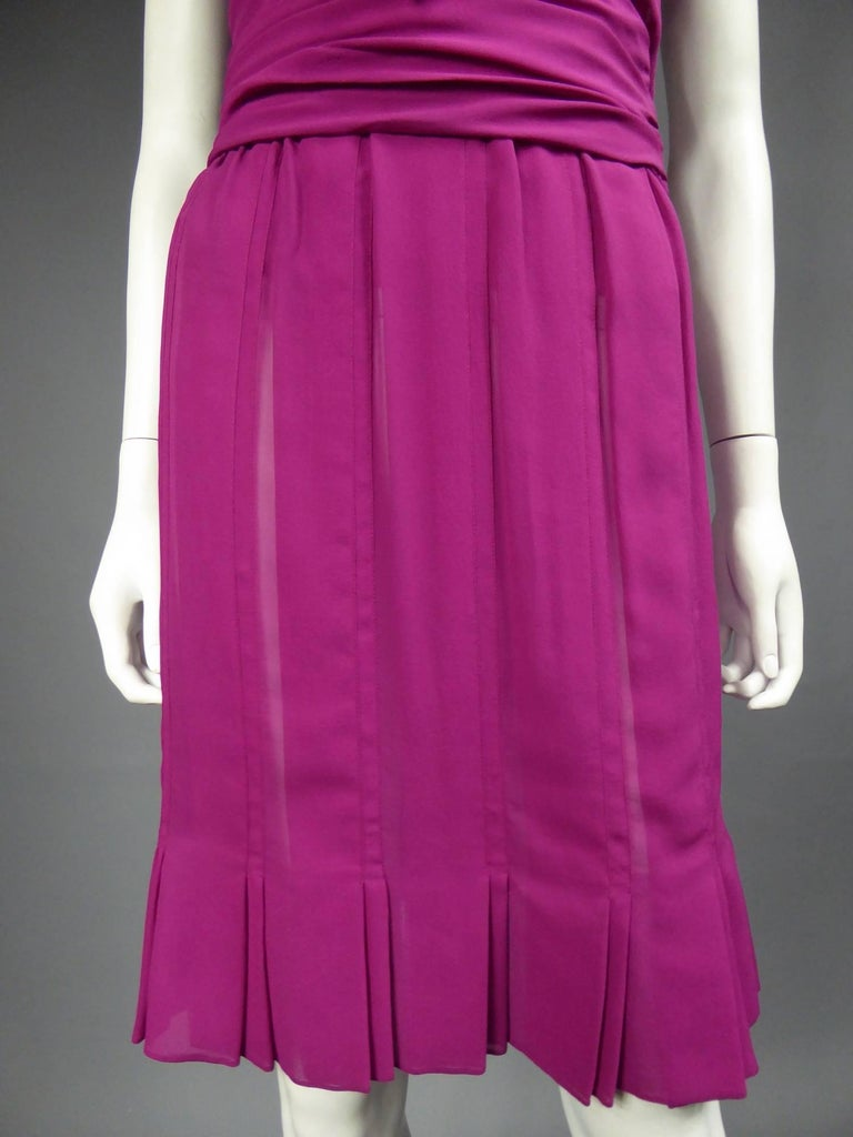 Christian Dior Haute Couture in pink chiffon silk dress, Circa 1989 - 1990 For Sale 6