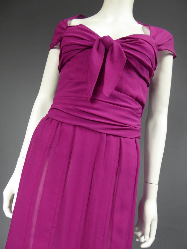 Christian Dior Haute Couture in pink chiffon silk dress, Circa 1989 - 1990 For Sale 7