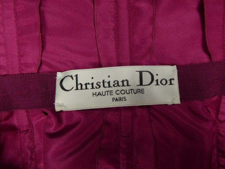 Christian Dior Haute Couture in pink chiffon silk dress, Circa 1989 - 1990 For Sale 8