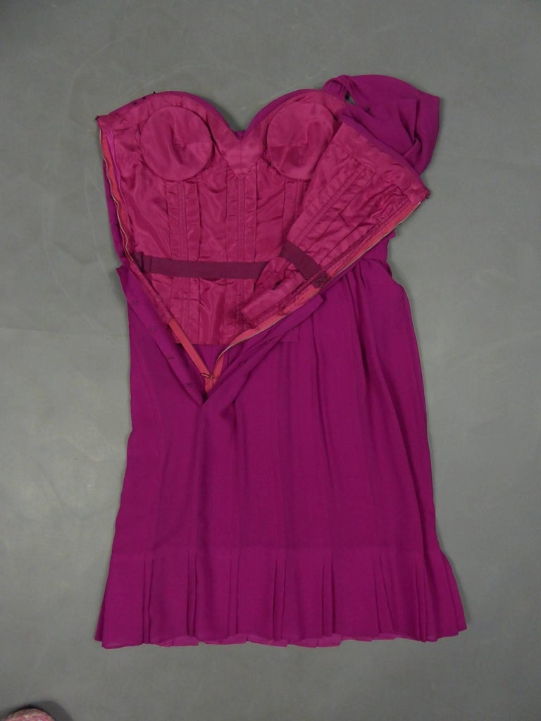 Christian Dior Haute Couture in pink chiffon silk dress, Circa 1989 - 1990 For Sale 9