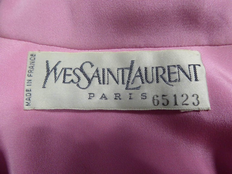 Yves Saint Laurent Haute Couture evening set numbered 65123, Circa 1989 For Sale 9