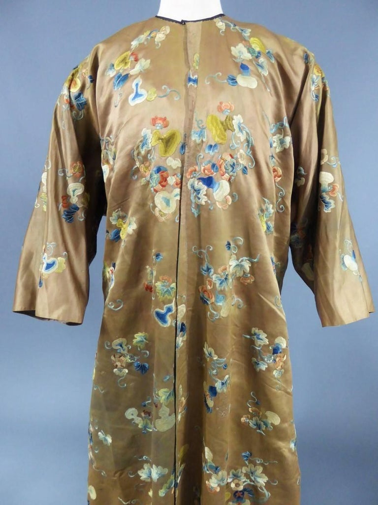 Chinese Embroidered Satin Banyan or Dressing gown 18th century For ...