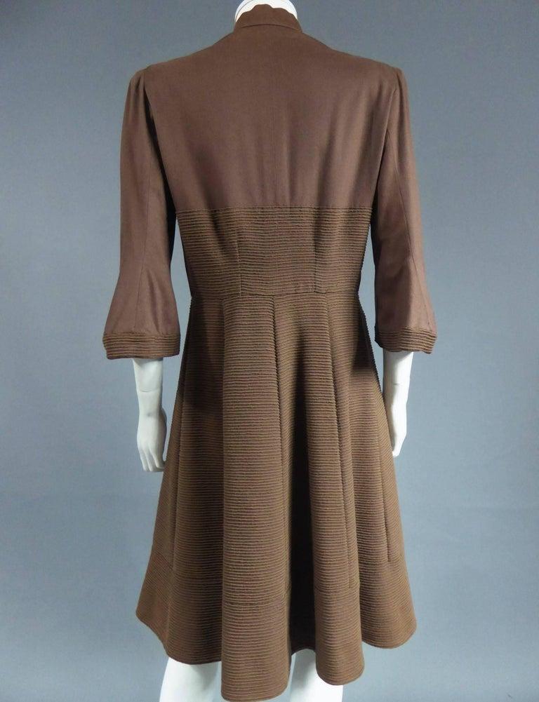 Black Carven Haute Couture Coat Dress, Circa 1944 / 1947 For Sale