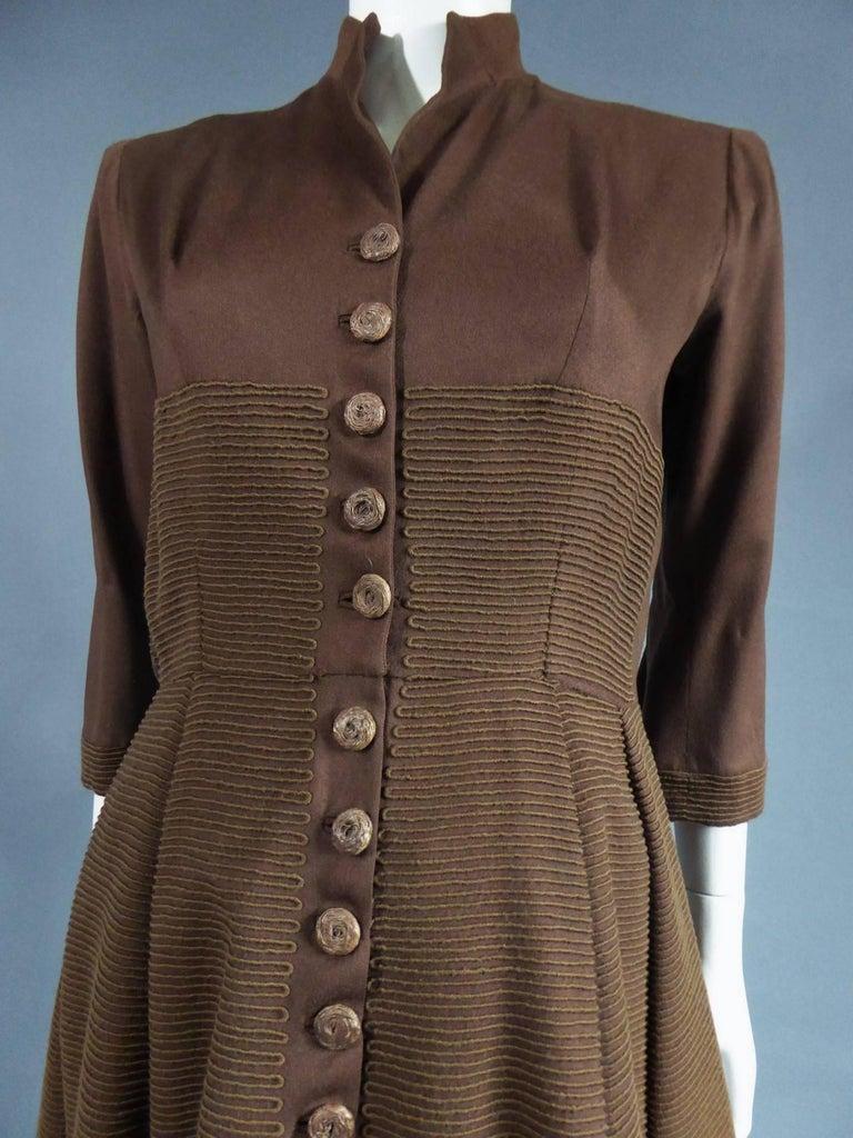 Carven Haute Couture Coat Dress, Circa 1944 / 1947 For Sale 1
