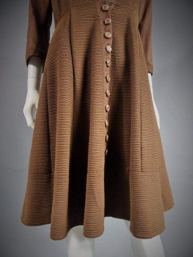 Carven Haute Couture Coat Dress, Circa 1944 / 1947 For Sale 3