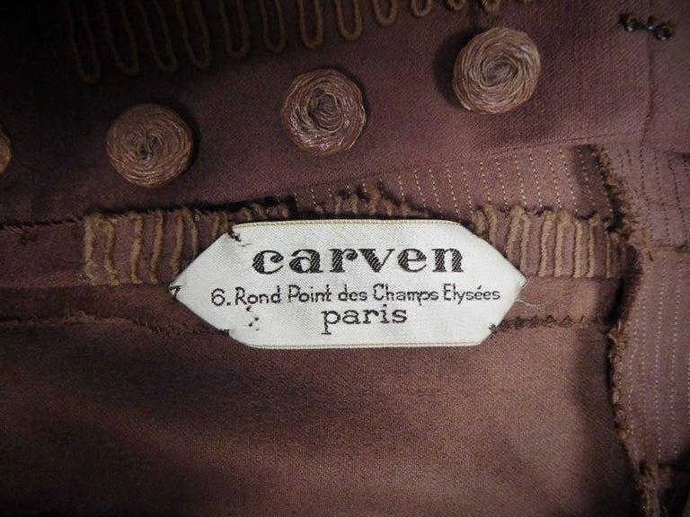 Carven Haute Couture Coat Dress, Circa 1944 / 1947 For Sale 6