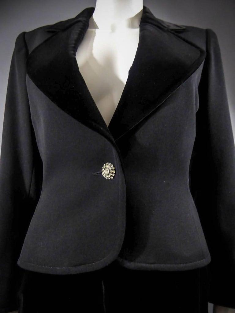 Yves Saint Laurent Rive gauche jewelery tuxedo set - Circa 1980 For Sale 1