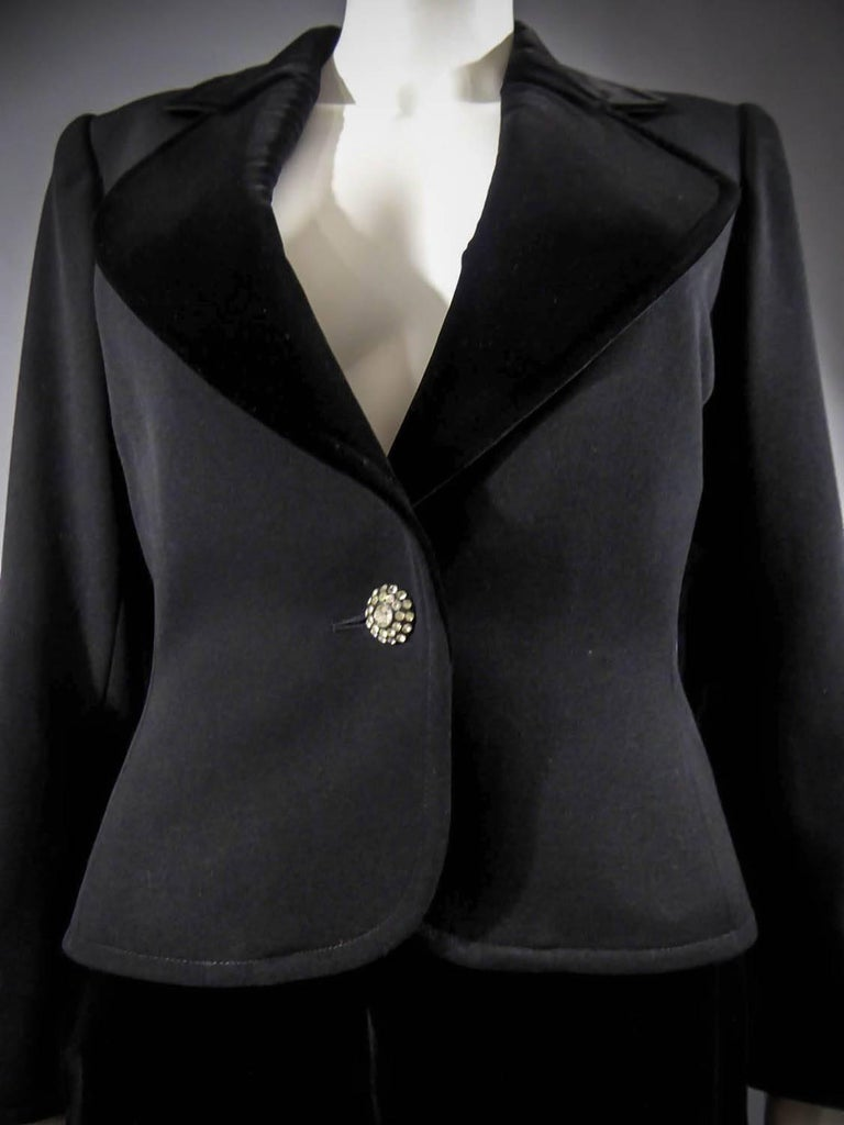 Yves Saint Laurent Rive gauche jewelery tuxedo set - Circa 1980 For Sale 2