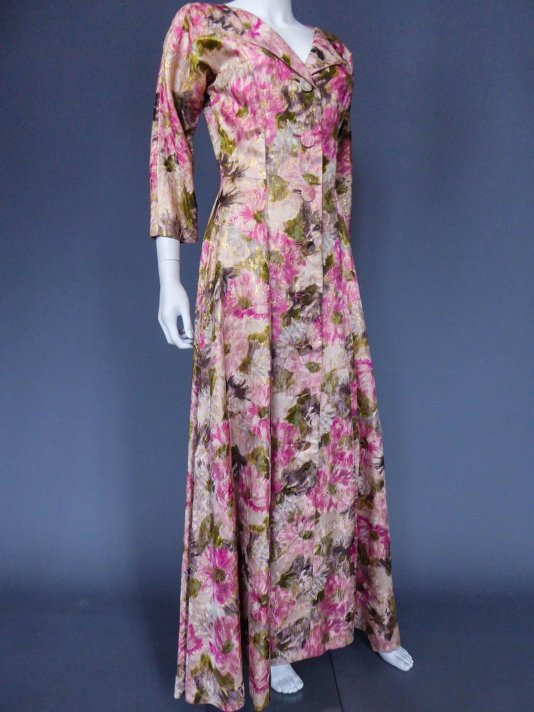 Elizabeth Arden Gold Evening Dress, Circa 1940 In Excellent Condition For Sale In Toulon, FR