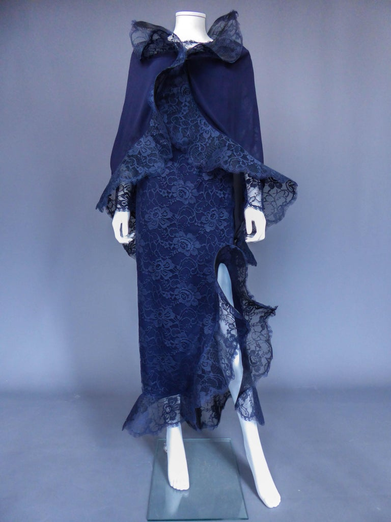 Purple Evening dress and cape attributed to Pierre Cardin Couture, Circa 1985 For Sale