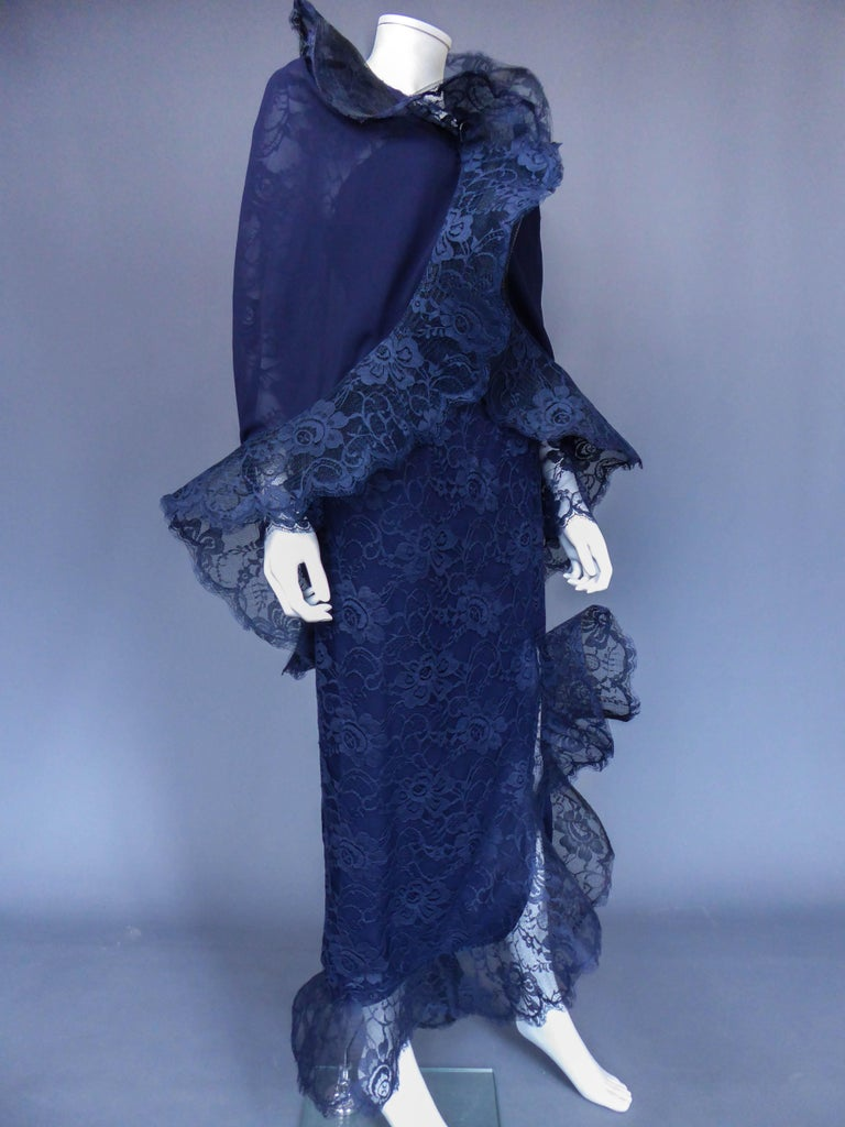 Women's Evening dress and cape attributed to Pierre Cardin Couture, Circa 1985 For Sale