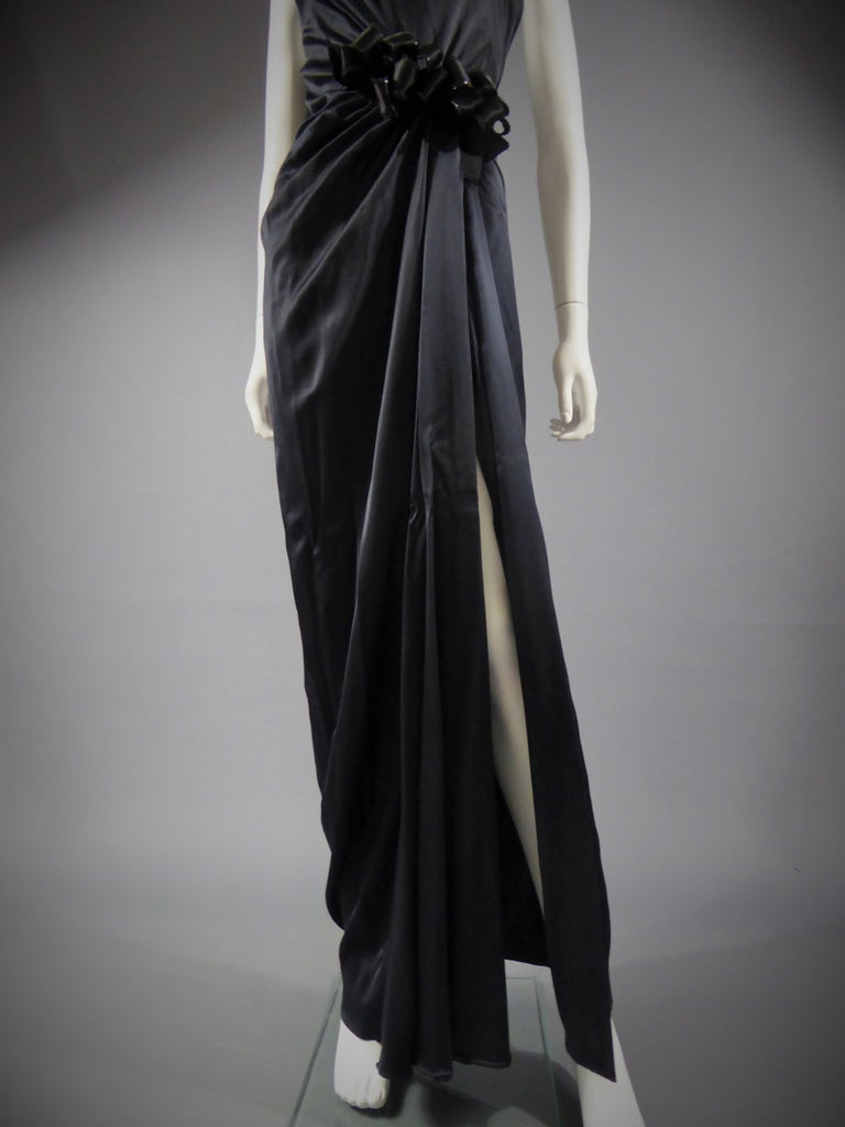 Black Yves Saint Laurent Couture black silk satin long wrap dress, Circa 1989 For Sale