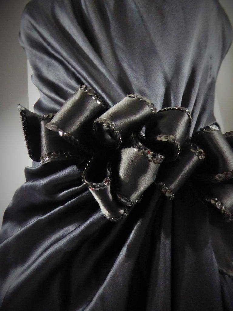 Women's Yves Saint Laurent Couture black silk satin long wrap dress, Circa 1989 For Sale