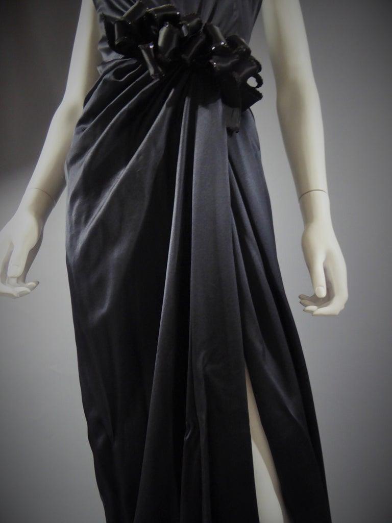 Yves Saint Laurent Couture black silk satin long wrap dress, Circa 1989 For Sale 1