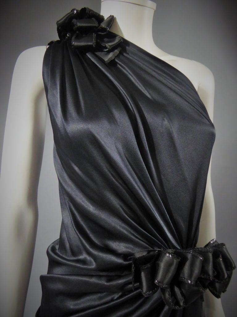 Yves Saint Laurent Couture black silk satin long wrap dress, Circa 1989 For Sale 2