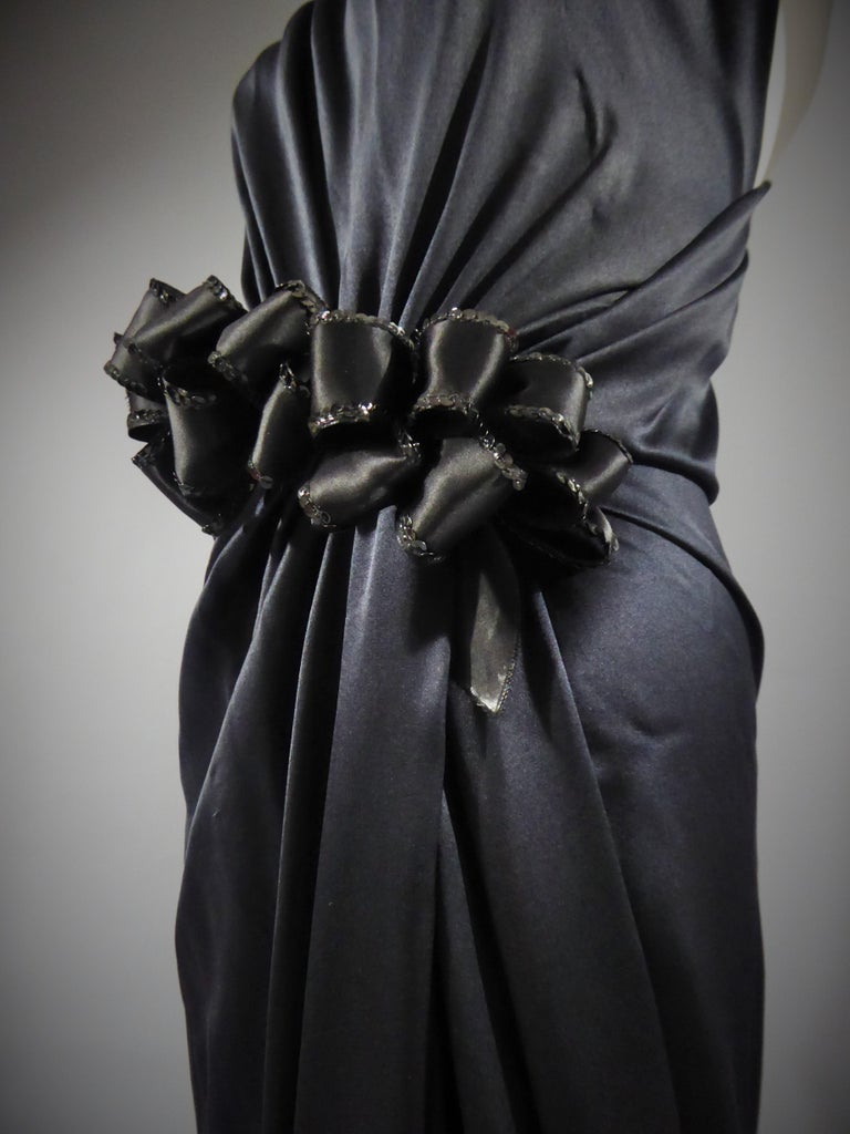 Yves Saint Laurent Couture black silk satin long wrap dress, Circa 1989 For Sale 3