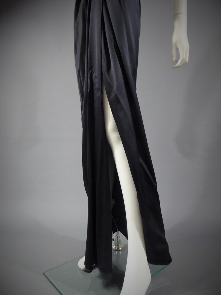 Yves Saint Laurent Couture black silk satin long wrap dress, Circa 1989 For Sale 4