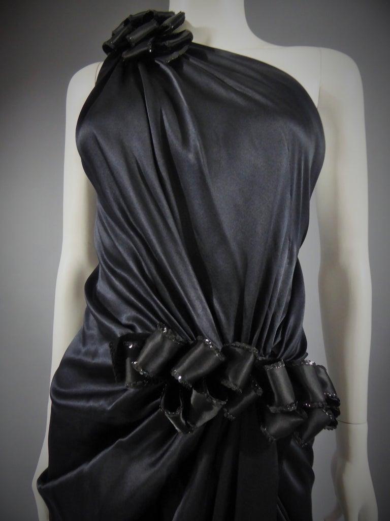 Yves Saint Laurent Couture black silk satin long wrap dress, Circa 1989 For Sale 5