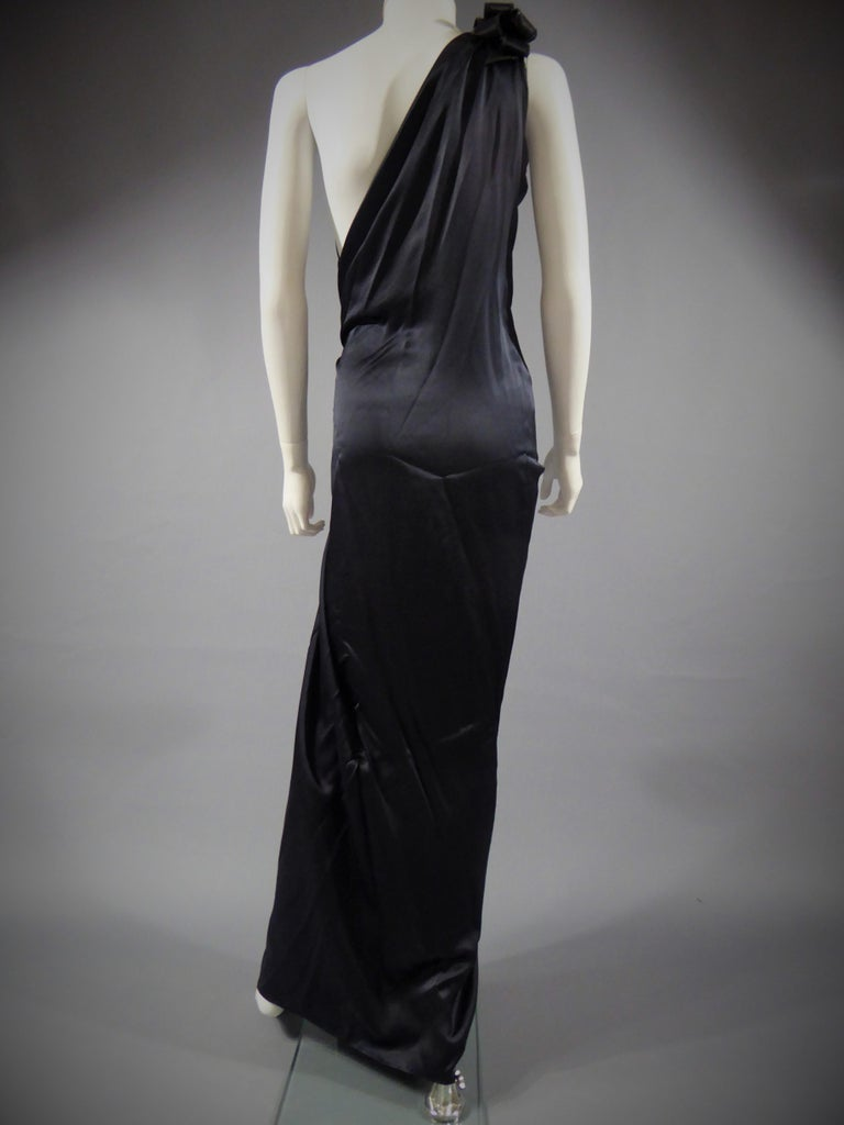 Yves Saint Laurent Couture black silk satin long wrap dress, Circa 1989 For Sale 6
