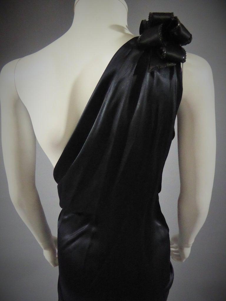 Yves Saint Laurent Couture black silk satin long wrap dress, Circa 1989 For Sale 7