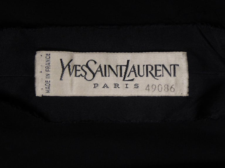 Yves Saint Laurent Couture black silk satin long wrap dress, Circa 1989 For Sale 8