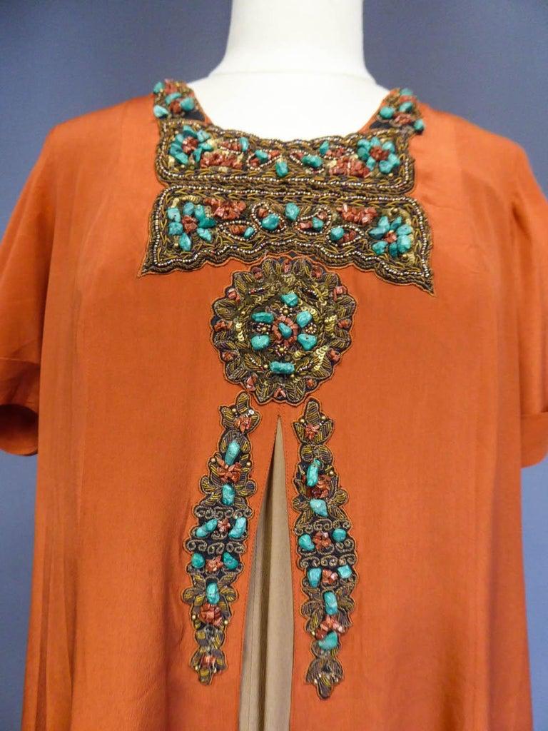 Women's Art Deco Orientalist Jewel Silk Dress  with turquoises beaded Circa 1920 For Sale