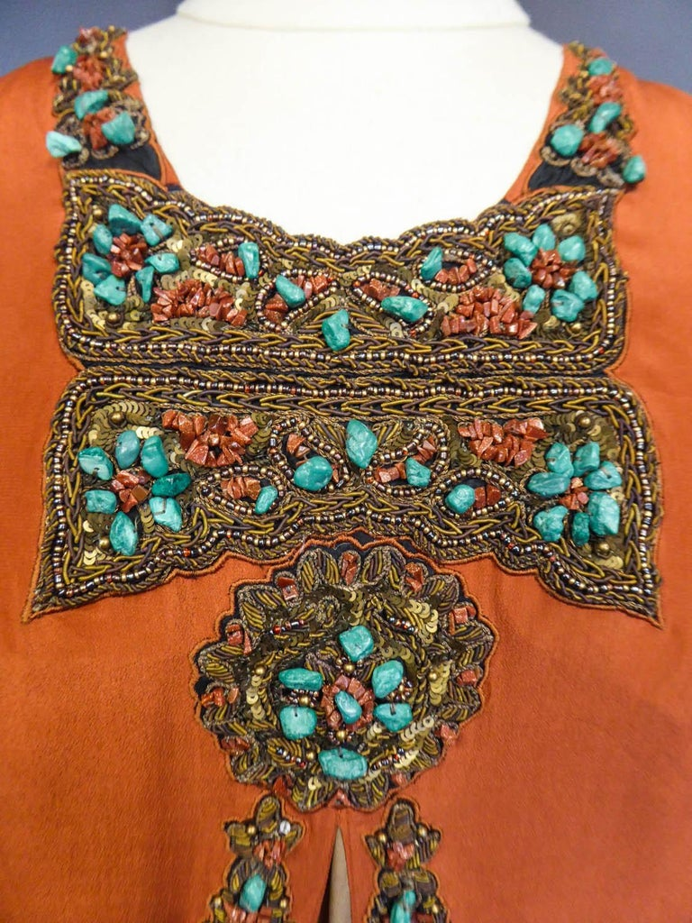 Art Deco Orientalist Jewel Silk Dress  with turquoises beaded Circa 1920 For Sale 1