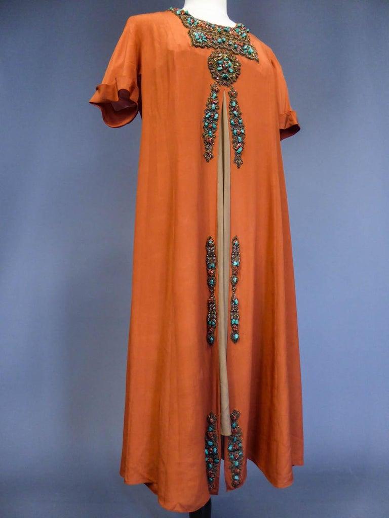 Art Deco Orientalist Jewel Silk Dress  with turquoises beaded Circa 1920 For Sale 2