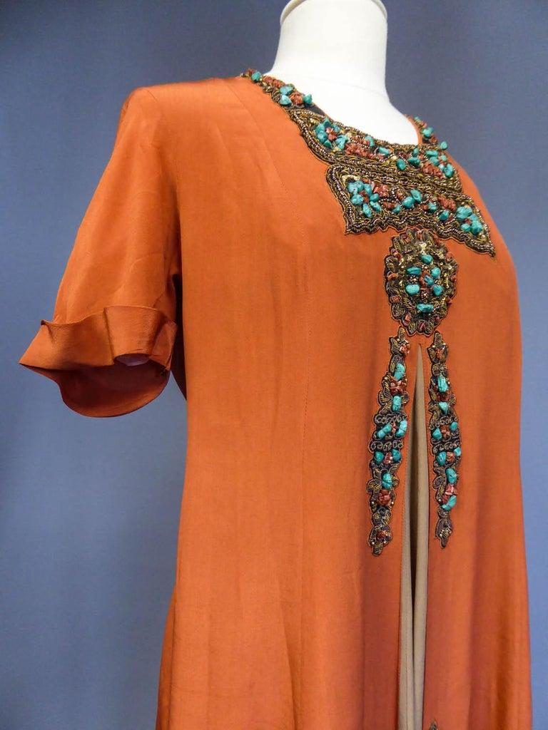 Art Deco Orientalist Jewel Silk Dress  with turquoises beaded Circa 1920 For Sale 3