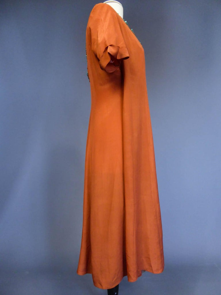 Art Deco Orientalist Jewel Silk Dress  with turquoises beaded Circa 1920 For Sale 4