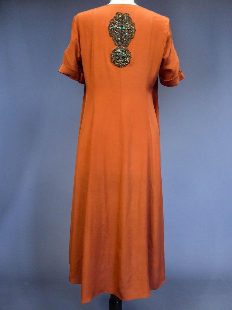 Art Deco Orientalist Jewel Silk Dress  with turquoises beaded Circa 1920 For Sale 5