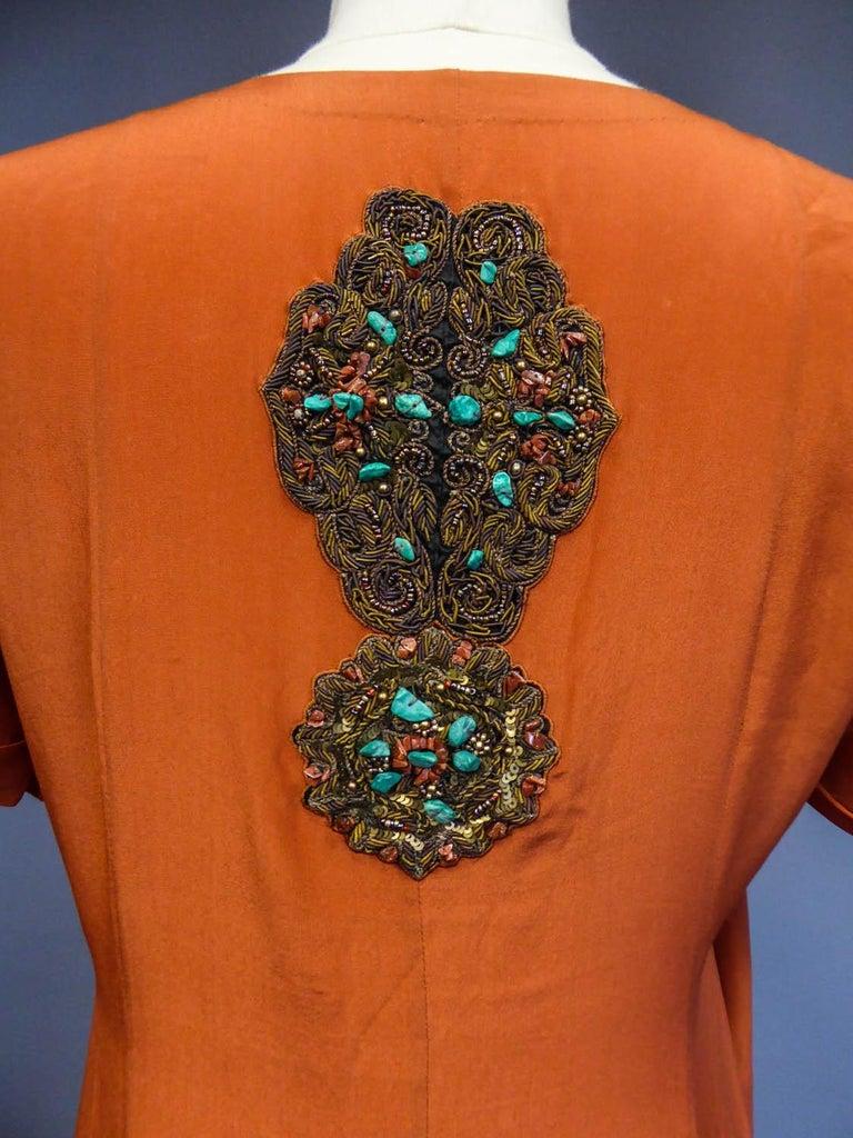 Art Deco Orientalist Jewel Silk Dress  with turquoises beaded Circa 1920 For Sale 6