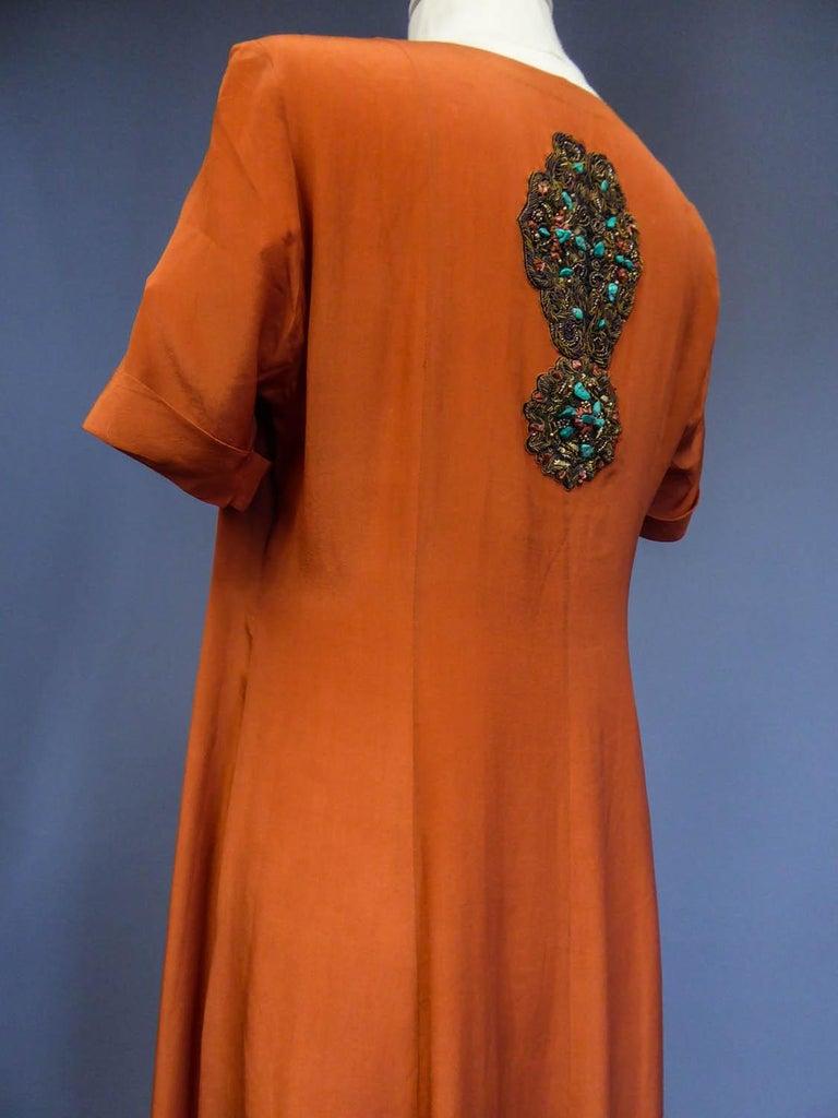 Art Deco Orientalist Jewel Silk Dress  with turquoises beaded Circa 1920 For Sale 7