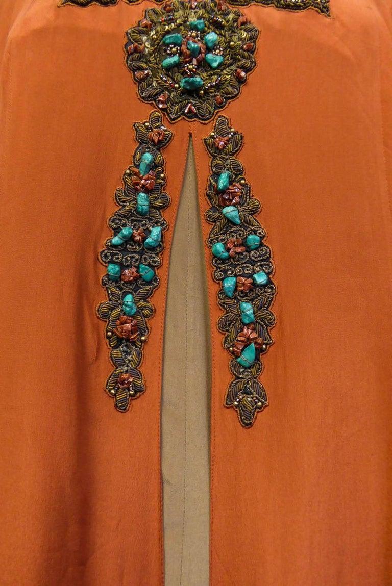 Art Deco Orientalist Jewel Silk Dress  with turquoises beaded Circa 1920 For Sale 8