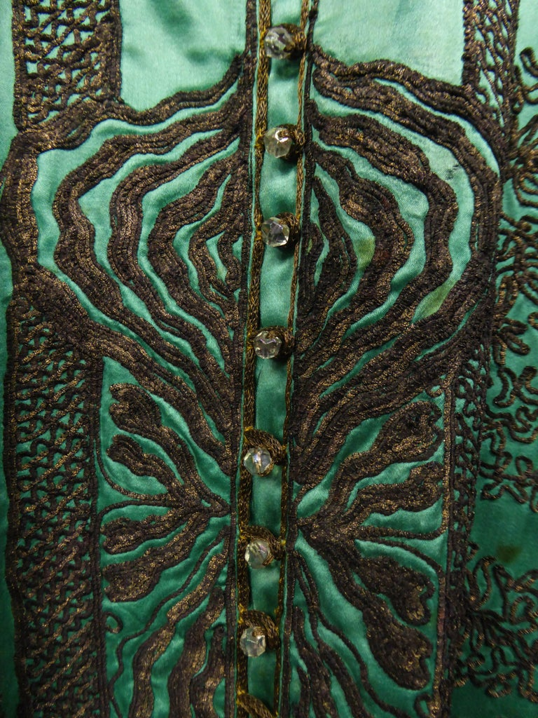 Babani Couture Kaftan or Party Kimono in green satin with appliqué  For Sale 1