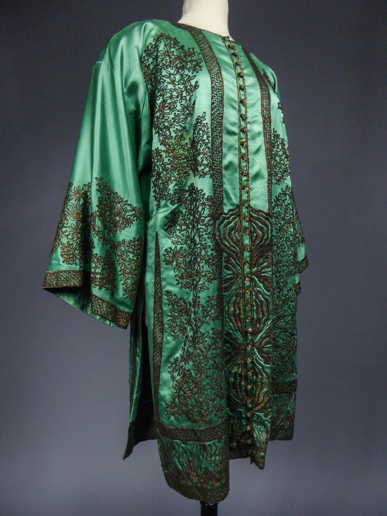 Babani Couture Kaftan or Party Kimono in green satin with appliqué  For Sale 2