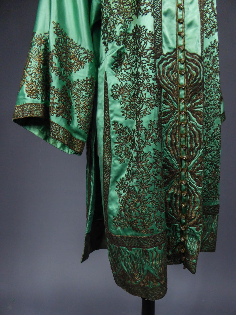 Babani Couture Kaftan or Party Kimono in green satin with appliqué  For Sale 4