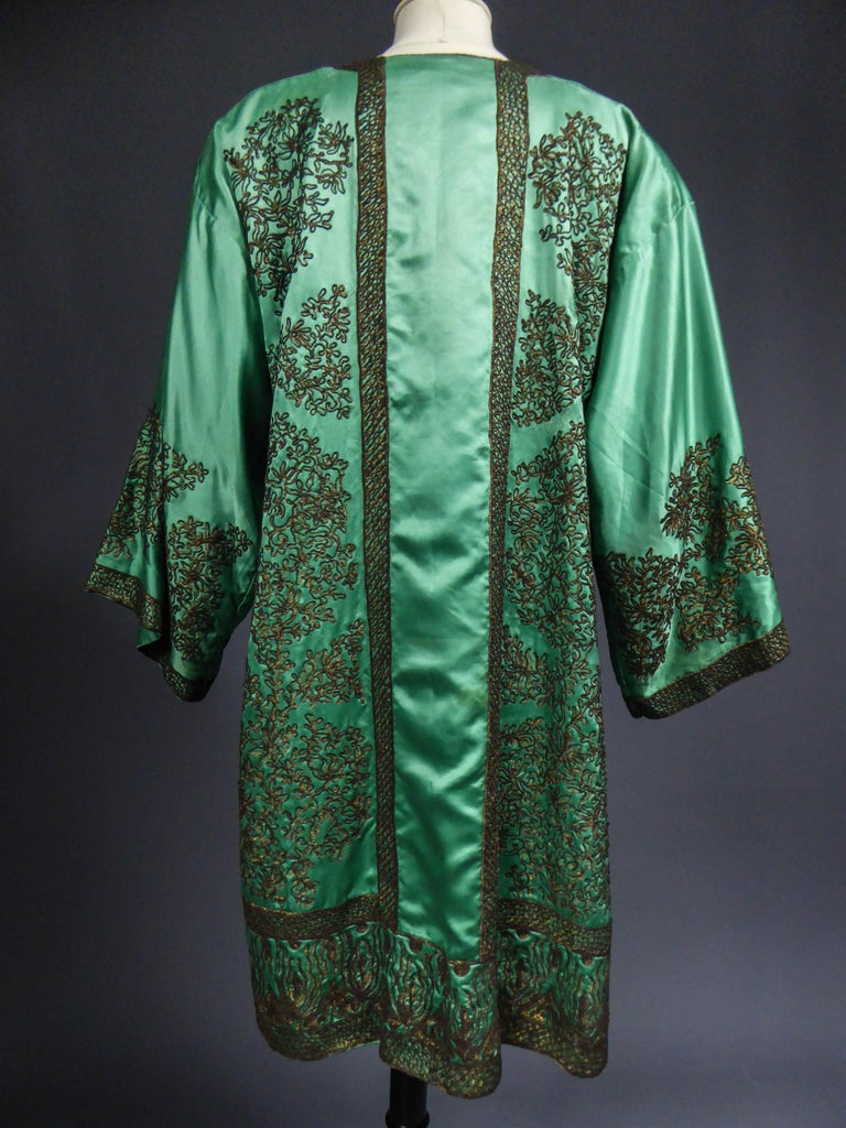 Babani Couture Kaftan or Party Kimono in green satin with appliqué  For Sale 6
