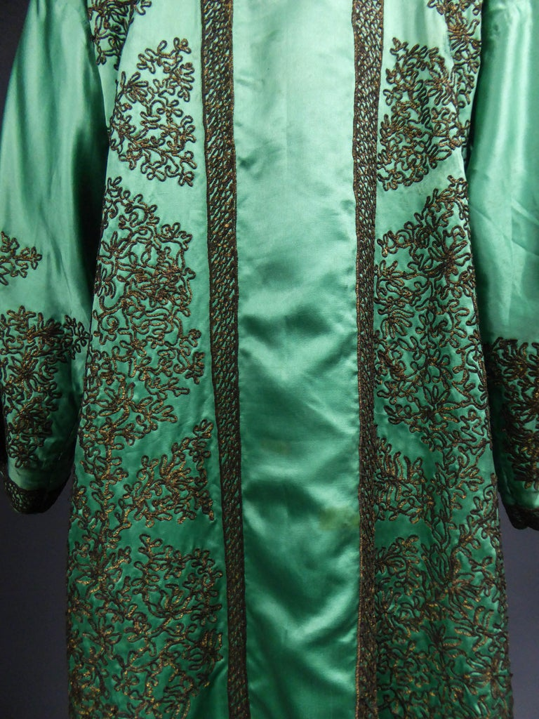 Babani Couture Kaftan or Party Kimono in green satin with appliqué  For Sale 8