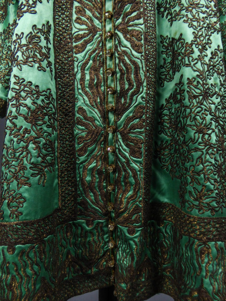 Babani Couture Kaftan or Party Kimono in green satin with appliqué  For Sale 9