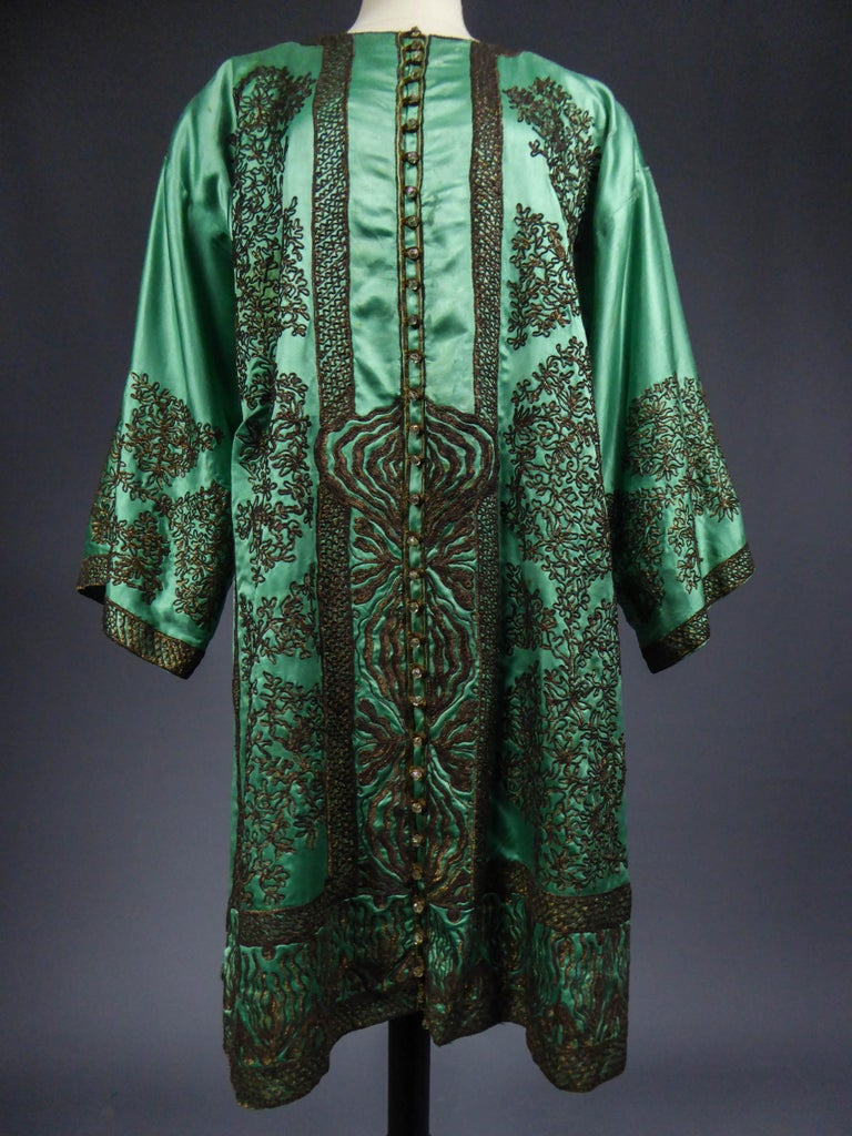 Babani Couture Kaftan or Party Kimono in green satin with appliqué  For Sale 10