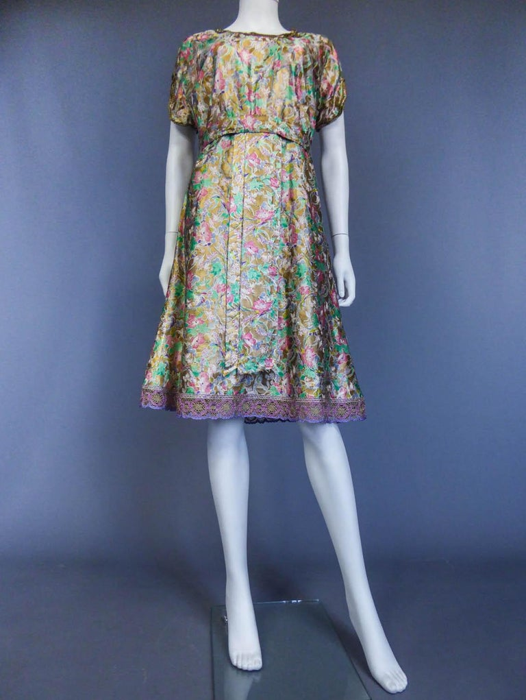 Women's Surrealist Gold Printed Satin Dress Circa 1940 For Sale