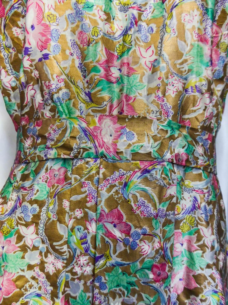 Surrealist Gold Printed Satin Dress Circa 1940 For Sale 1