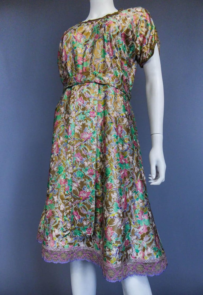 Surrealist Gold Printed Satin Dress Circa 1940 For Sale 2