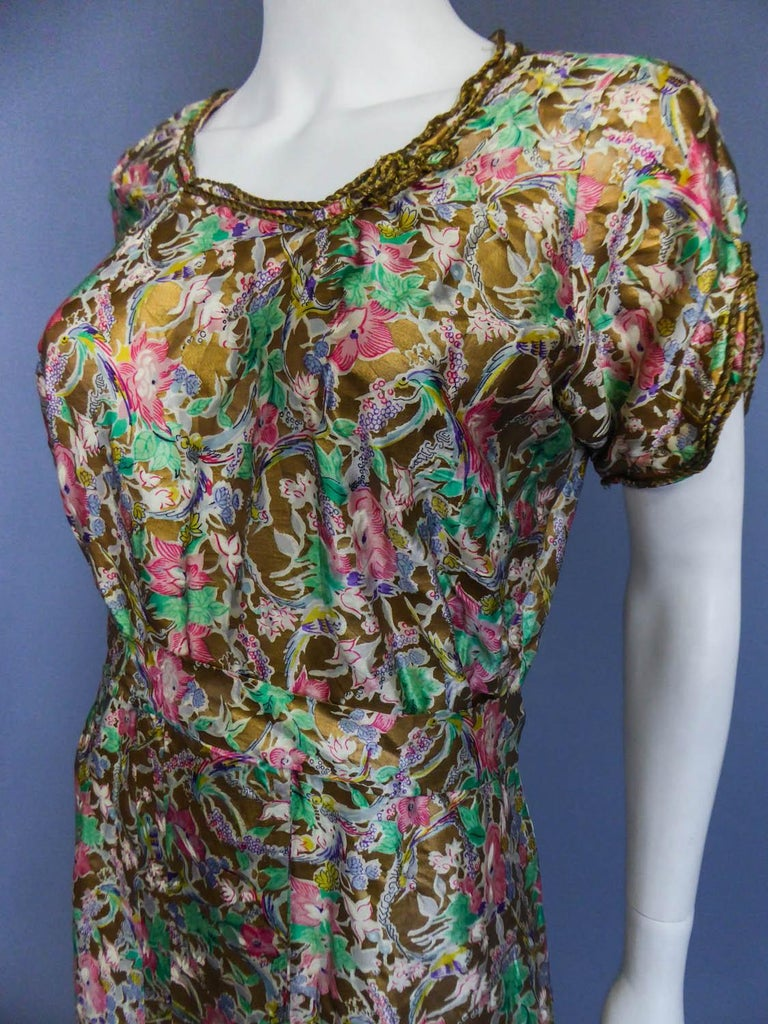 Surrealist Gold Printed Satin Dress Circa 1940 For Sale 3
