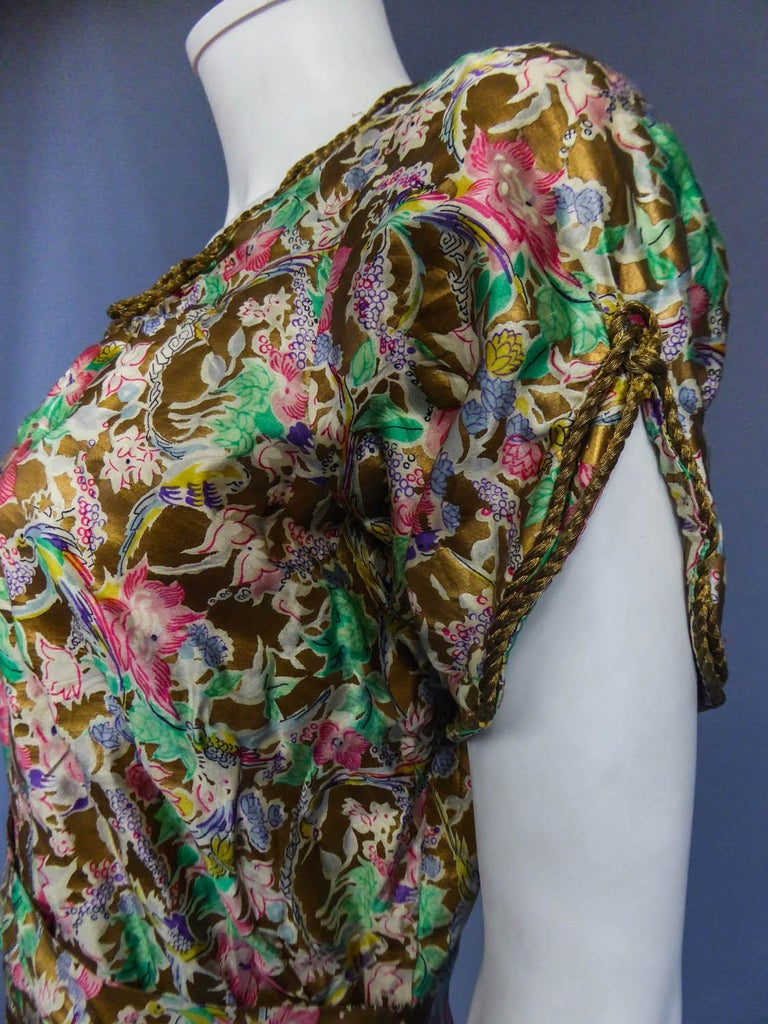 Surrealist Gold Printed Satin Dress Circa 1940 For Sale 4