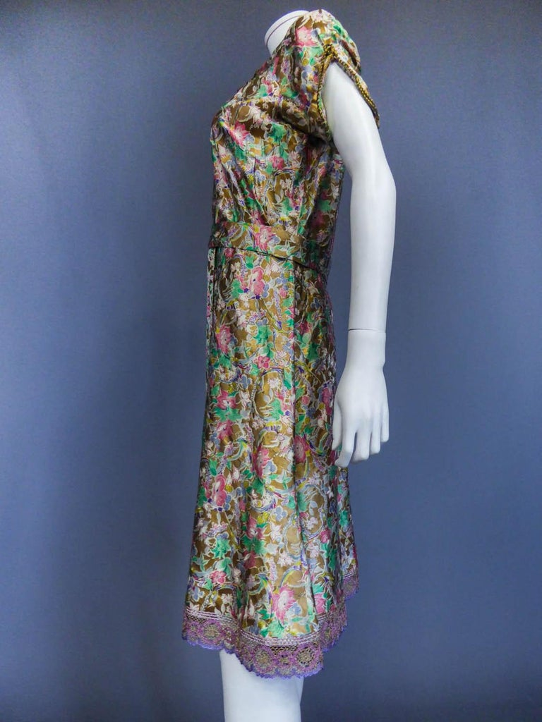 Surrealist Gold Printed Satin Dress Circa 1940 For Sale 5
