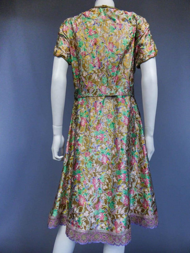 Surrealist Gold Printed Satin Dress Circa 1940 For Sale 6